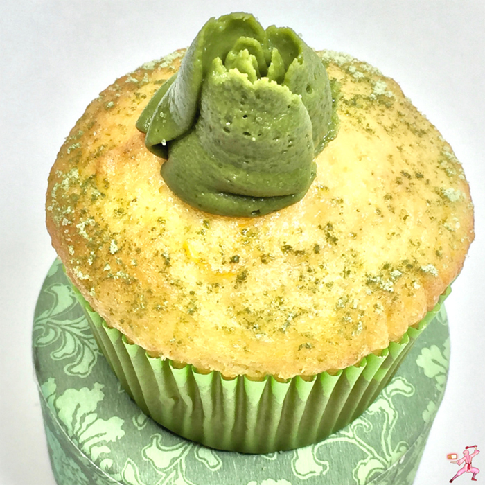 Japanese matcha green tea easy recipe frosting cake orange